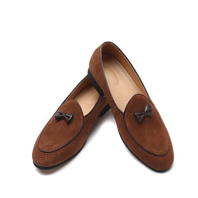 bf0413e5c0 Luxury Brand Men Dress Shoes Bowknot Bowtie Designer Genuine Leather  Loafers Mens Business Wedding Flats Casual Shoes Plus Size:39-46 Q-237