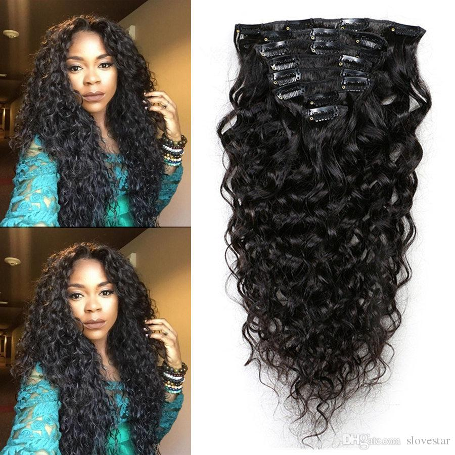 9a Grade 100 Virgin Water Wave Clip In Human Hair Extensions Wave