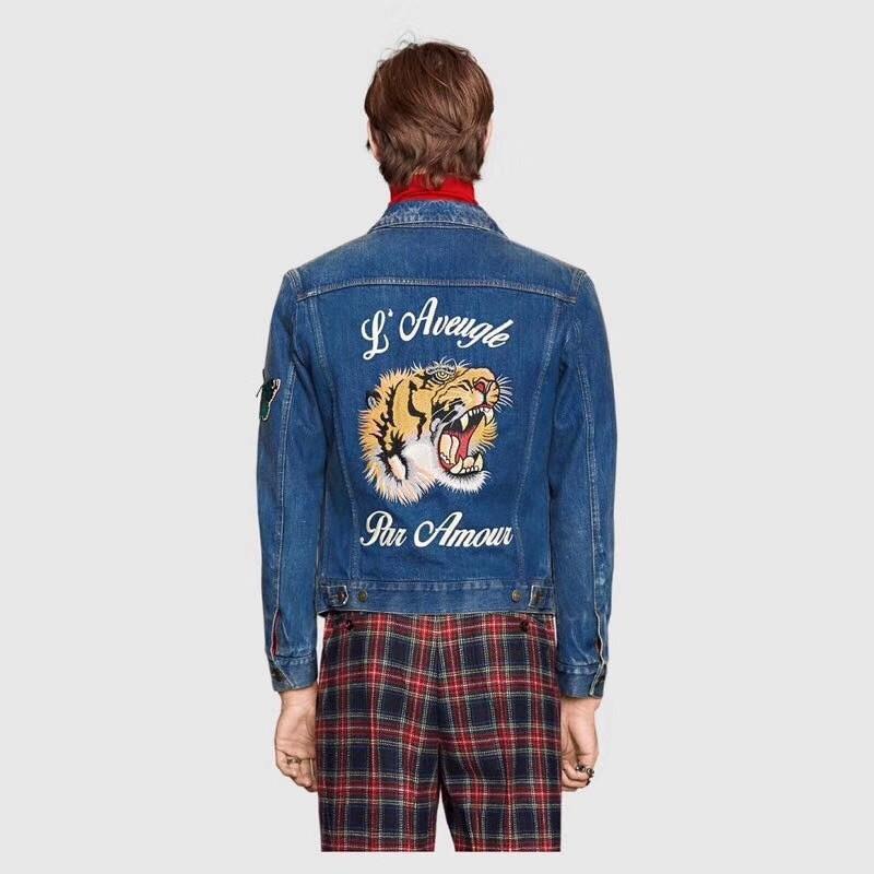 Luxury Europe Tiger Embroidered Denim Jacket Vintage High Street