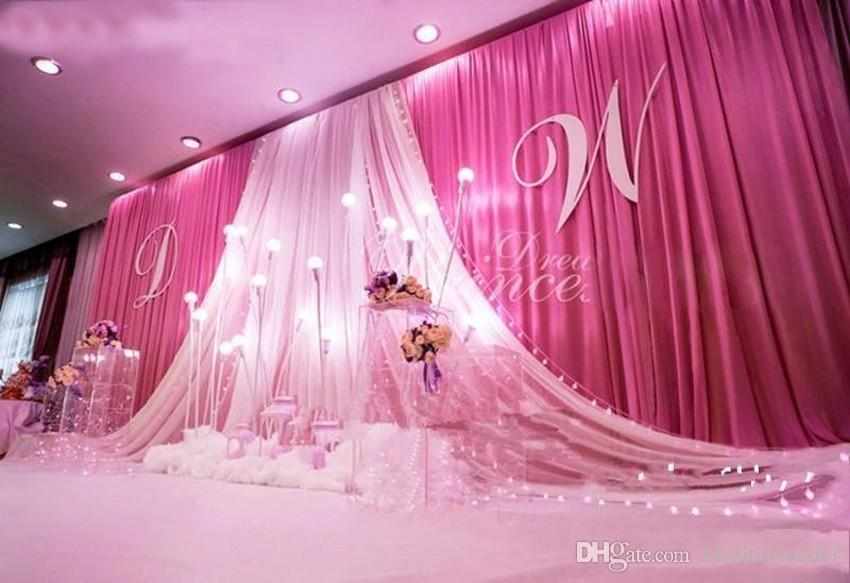 Luxury 3*6m 10ft*20ft ice silk gold wedding backdrop stage curtain with white yarn Stage Prop Fashion Drape Curtain Backdrops