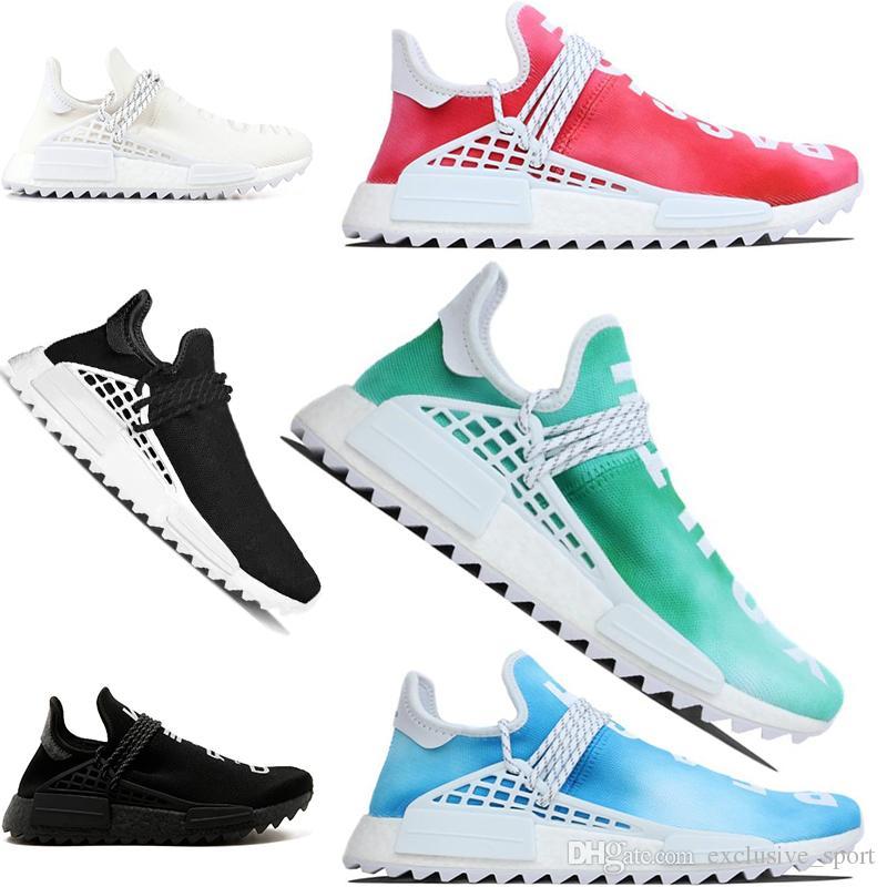159af0ada Human Race Running Shoes Pharrell Williams Hu Trail Cream White Black Nerd  Equality Designer Trainer Men Women Sport Sneaker Big Size 36 47 Shoes On  Sale ...