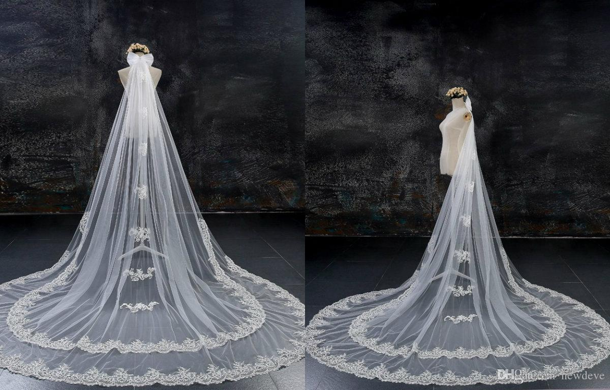 Lace appliques wedding veils two layer bride meters long wedding