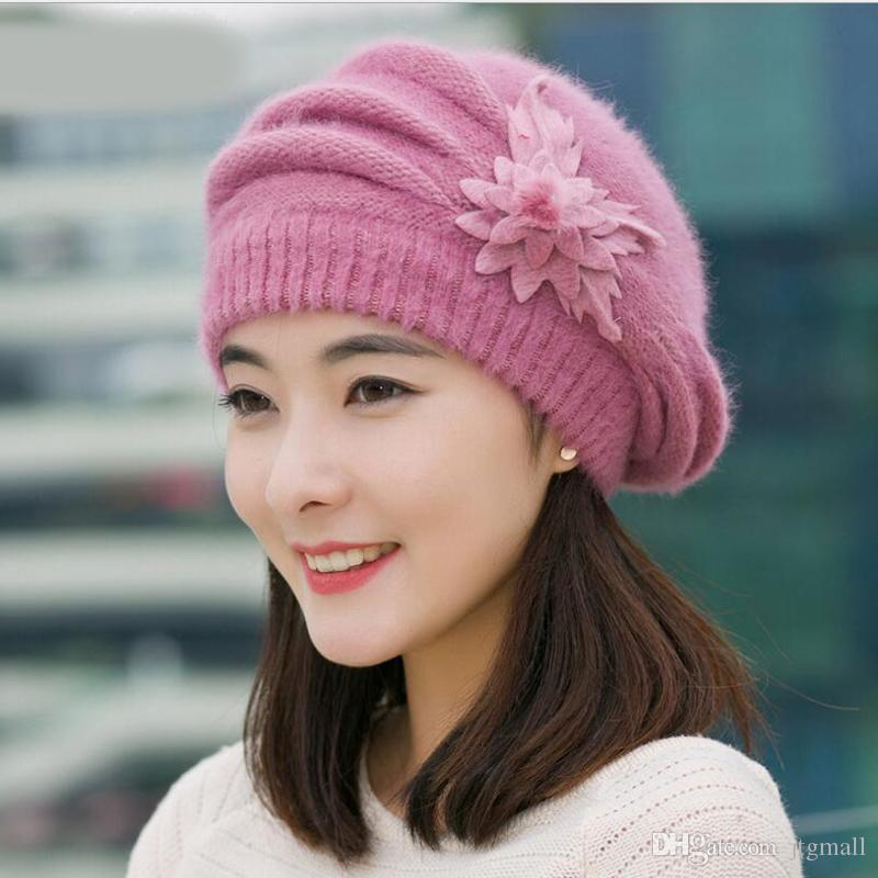 d892adc0f65 Hot Berets Hat Beanie Fashion Spring Autumn Winter Hat Warm Flower ...
