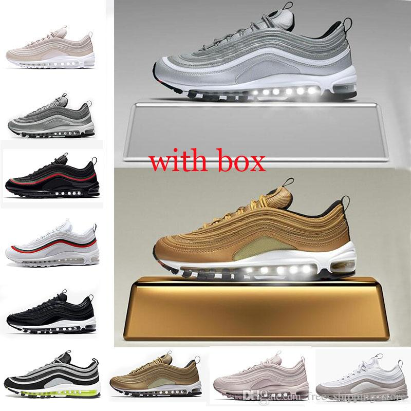 with box 97 shoes Triple white black pink Running shoes Og Metallic Gold Silver Bullet Mens trainers Women sports Shoes sneakers size 36-45