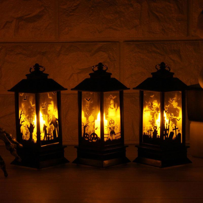 Creative Halloween Simulation Flame Night Light Layout Desktop Decoration Vintage Style Hanging Oil Lamp Children Kids Toy Gift