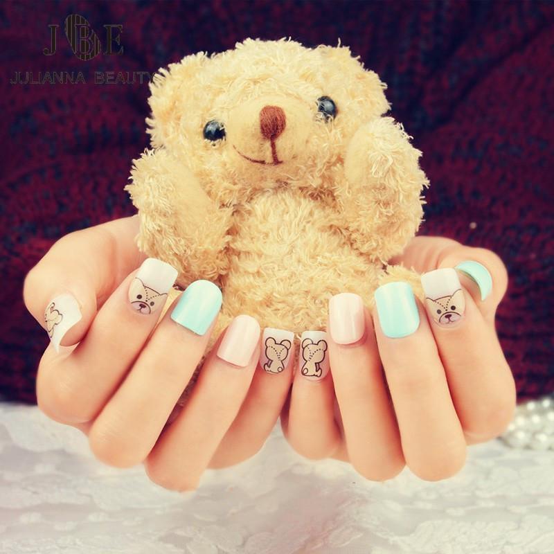 Fake Nails Cute Bear Designs French Manicure Unhas Tips Artificiais ...