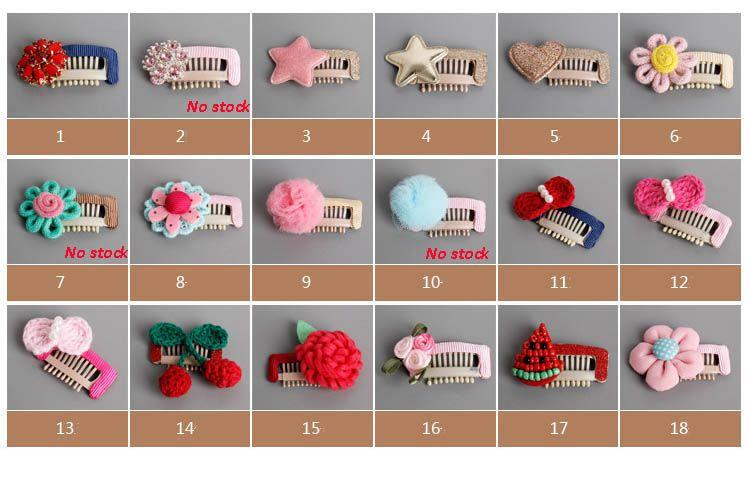 18 styles Handmade Hair Clip Kids Hairpin Children barrette star heart flower bowknot Headwear Girls Hair Accessories SEN324