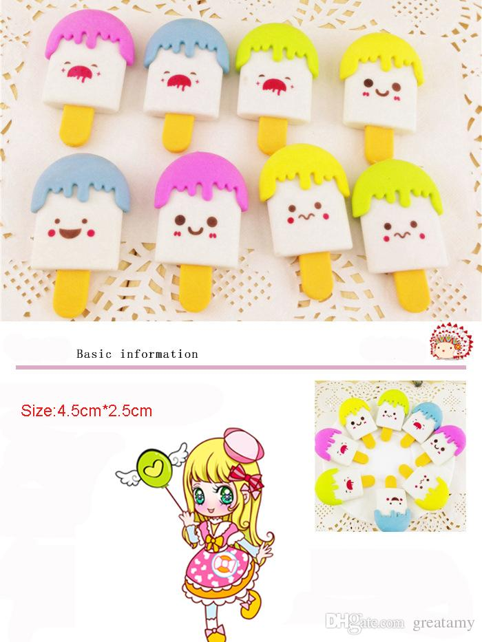 4.5*2.5cm expression of ice cream eraser photography supplies stationery school supplies student prizes wholesale 100pcs