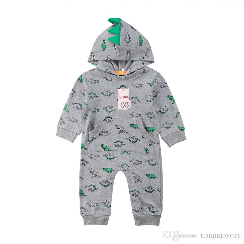 767a56a3d6ce 2019 Baby Boy Girl Romper Summer Newborn Infant Toddler Kids Dinosaur  Hooded Cotton Romper Jumpsuit Sunsuit Clothes Outfit Age 3 24M From  Tianjinjoycity