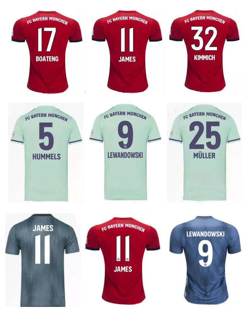 separation shoes 7f4b5 8bcde 18-19 Bayern Munich Soccer Jersey 11 JAMES jersey 9 LEWANDOWSKI 10 ROBBEN  27 ALABA COMAN MULLER KIMMICH 9 RIBERY 11 VIDAL Football shirts