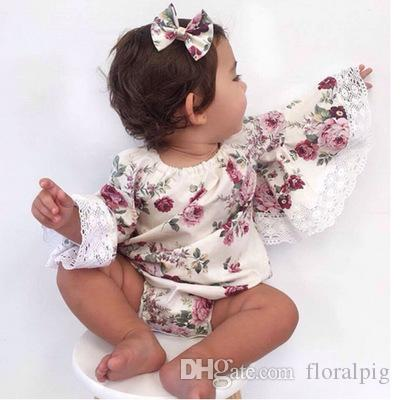 007a7c9560b8 2019 Cute Baby Girl Clothes Newborn Baby Flare Sleeve Tops Floral Romper  Jumpsuit Outfit Sunsuit Clothes Summer Casual Clothes 0 24M From Floralpig