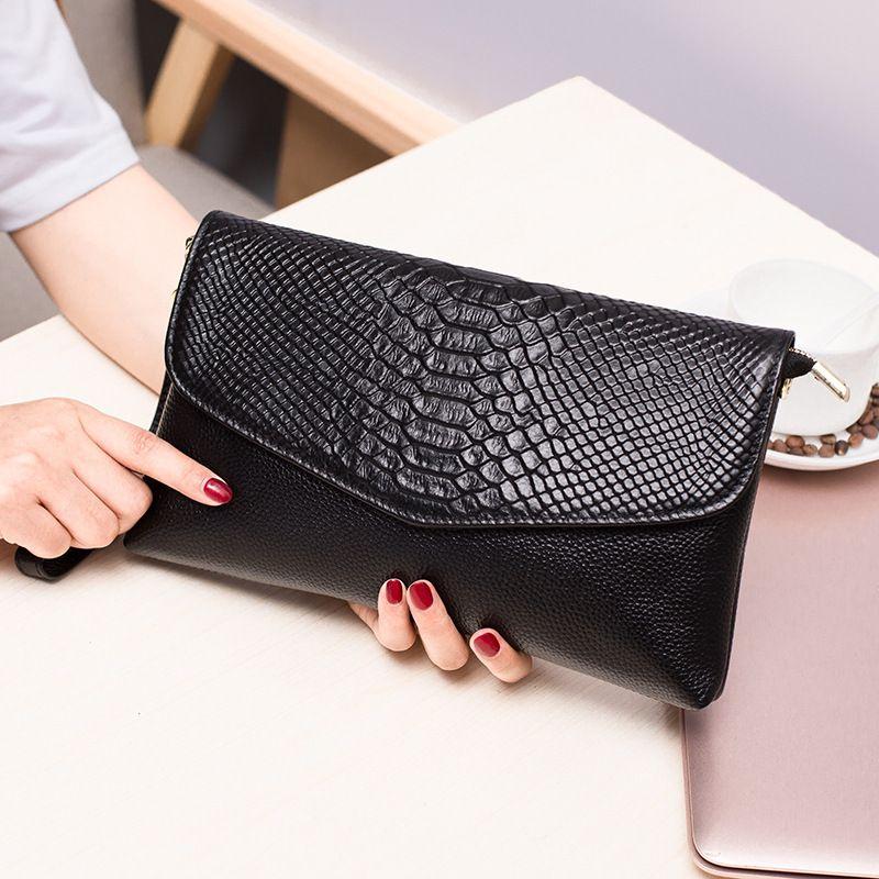 0c4f0bfc89b0a Genuine Leather Women S Clutch Bag Crocodile Pattern Handbags Flap Envelope Clutch  Purse Female Shoulder Crossbody Messenger Bag Luxury Handbags Italian ...