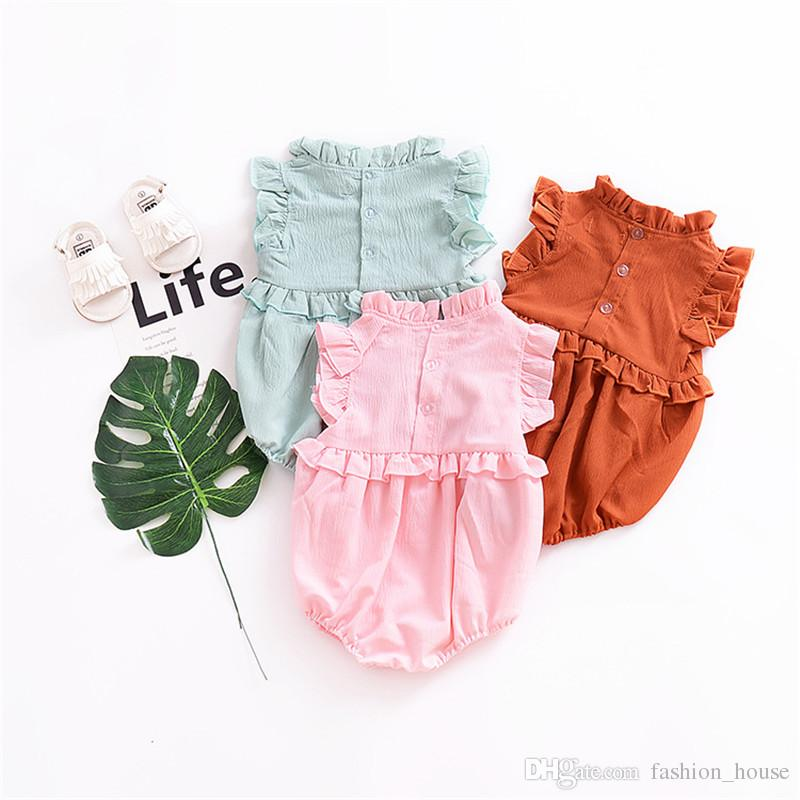 247649e72fca Baby Solid Color Rompers Cotton Summer 2018 Kids Boutique Clothing Euro  America INS Hot Sale Infant Toddlers Ruffle Sleeves Rompers B11 UK 2019  From ...