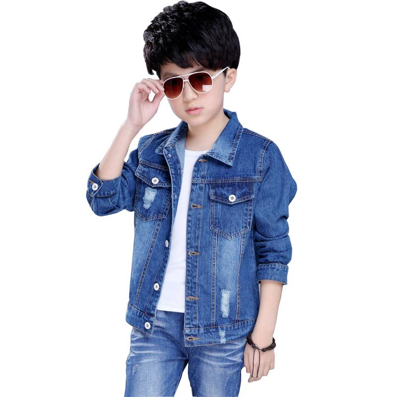 97d81c57f 2018 Autumn Boys Jeans Jacket Children Clothes Kids Denim Jackets Coats  Casual Teenage Children Outerwear 4-11Y BC249