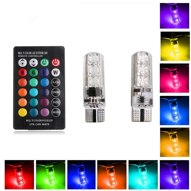 W5w Led Lights T10 Rgb Led Bulbs With Remote Controller Rgbw 501 194