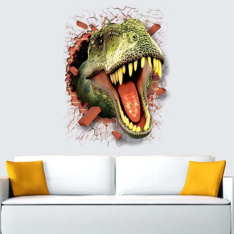 50*70cm 3D Car Dinosaur Cartoon Movie Home Decal Wall Sticker for Kids Room Decor Child Boy Birthday Festival Gifts Home Decor