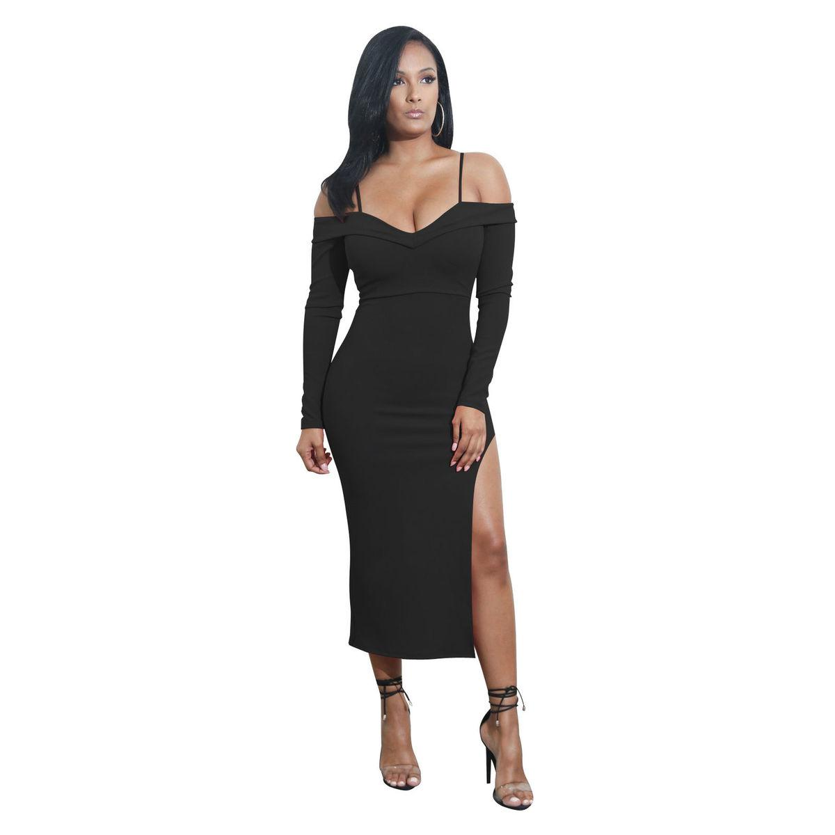 0d976aae9302 Women Sexy Dress Bodycon Sleeveless Evening Party Off Shoulder Long Sleeve  Club Pencil Dress New Fashion Women Clothes Dresses Designer Cocktail Dress  Dress ...