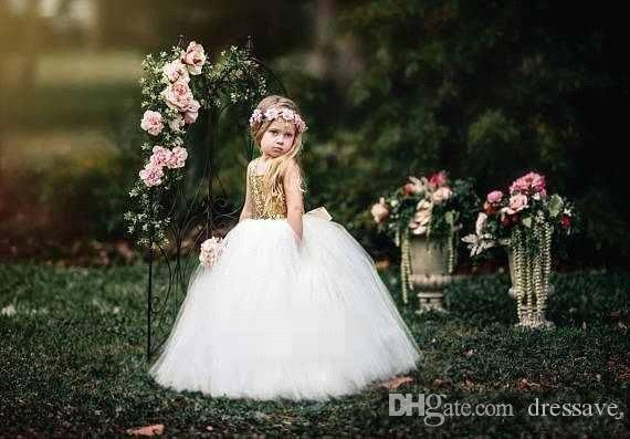 Flower Girls Dresses For Wedding 2018 Princess Boat Neck Backless Gold Sequins On Top Tulle Communion Pageant Dress Custom Made