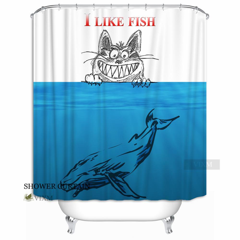 2018 Vixm Home Original Funny Cats Like Fish Fabric Shower Curtain Deep Sea Whale Custom Polyester Bathroom Curtains Blue Black From Waxer 3236