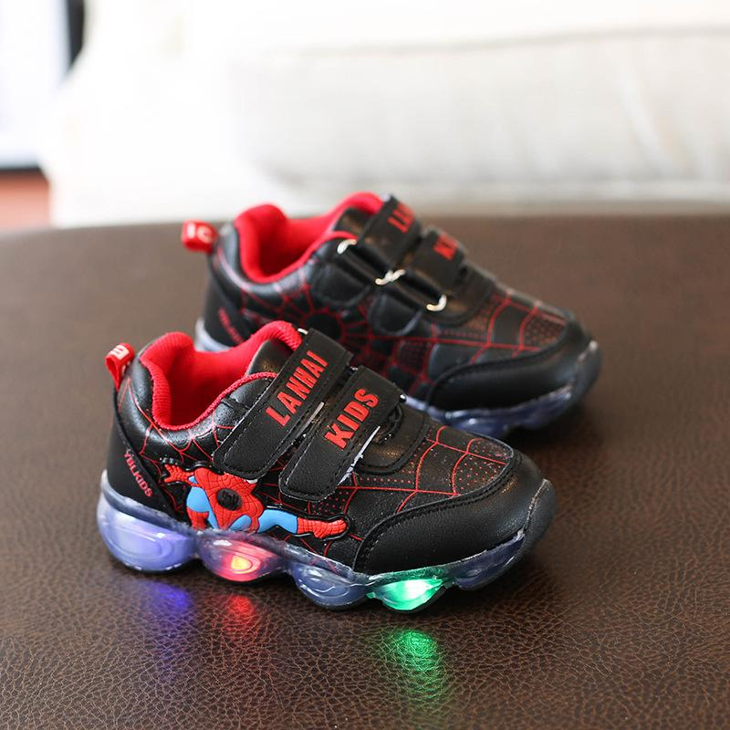 Cool Spider unisex baby casual shoes Spring/Autumn girls boys shoes Spring/Autumn hot sales LED Cute baby sneakers footwear