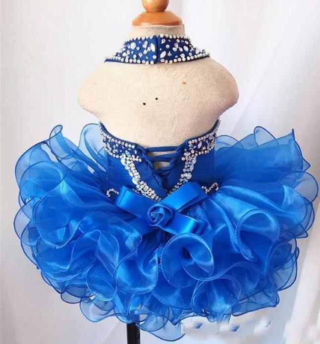 2018 Cute Organza Cupcake Ball Gown Toddler Little Girls Pageant Dresses Beads Halter Royal Blue Pink White Flower Girls Dress