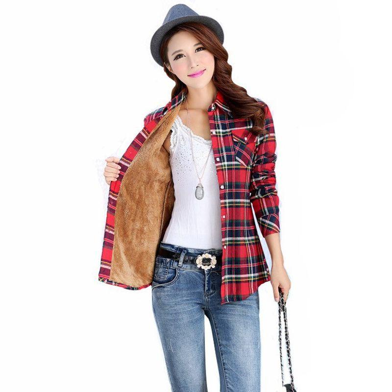 Moda de mujer de terciopelo grueso invierno manga larga a cuadros bolsillo abrigo hembra tamaño lager salvaje. camisa de dama casual blusas s2914
