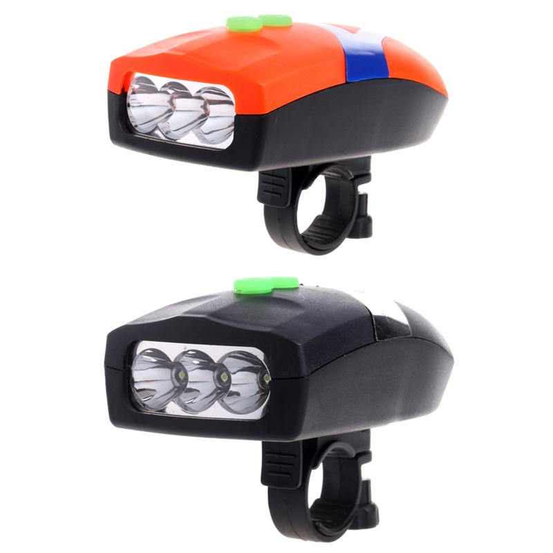 3LED Bike Bicycle White Front Head Light Electronic Bell Horn Hooter Siren F20