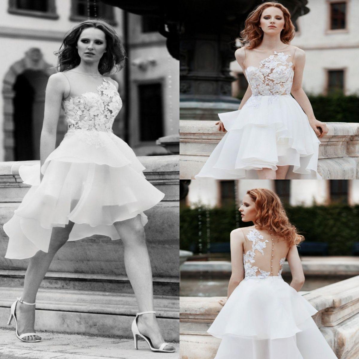 Designer Short Knee Length Wedding Dresses Top Applique Fl Illusion Ruffles  Organza Country Bridal Gown Sleeves 679ddb69a709