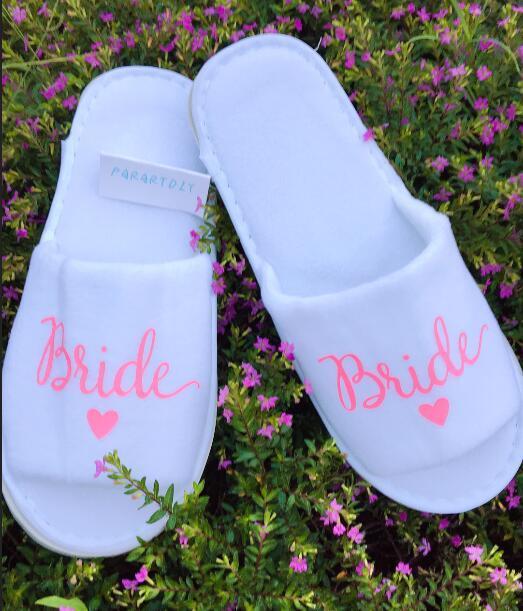 67ea403e7 Personalized Pink Bride Wedding Slippers