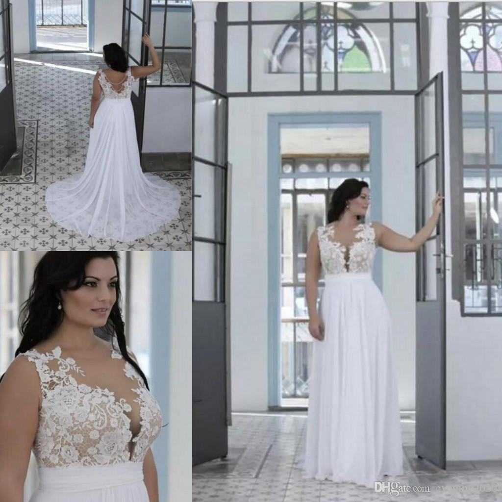 2e50685bb1 Discount Plus Size Beach Wedding Dresses A Line Sheer Bateau Neck  Sweetheart Lace Top Bridal Gowns Illusion Bodice Brides Gowns Empire Line Wedding  Dresses ...