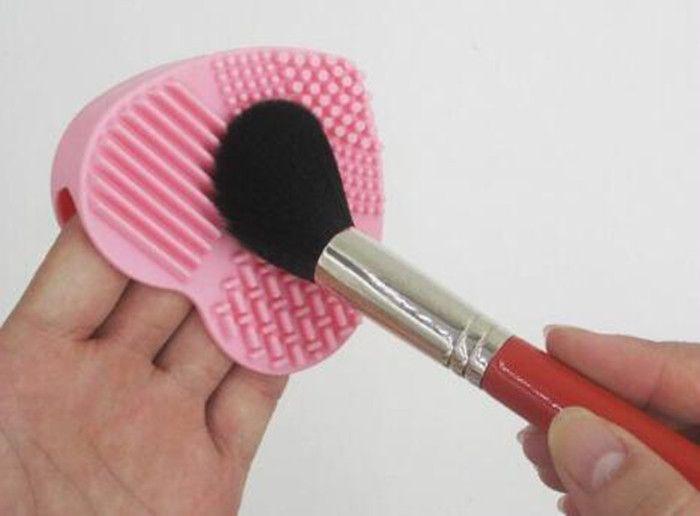 Escova de maquiagem Limpeza Mat Cuidador Silicone Coração-forma Cosméticos Escova de Escova de Scrubber Pad Maquiagem