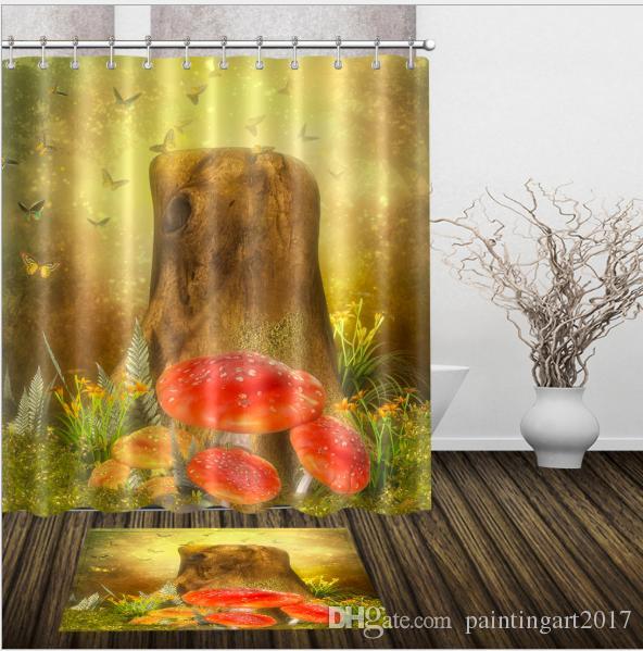 2019 3D Mushroom Pattern Irish Decorations Waterproof Bathroom Decor Fabric Shower Curtains Floor Mats Sets From Paintingart2017 1538