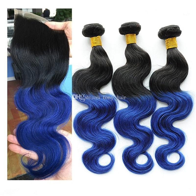 Two Tone 1B Blue Ombre Lace Closure with Bundles Black to Blue Body Wave Ombre Indian Human Hair Weaves with Top Closure