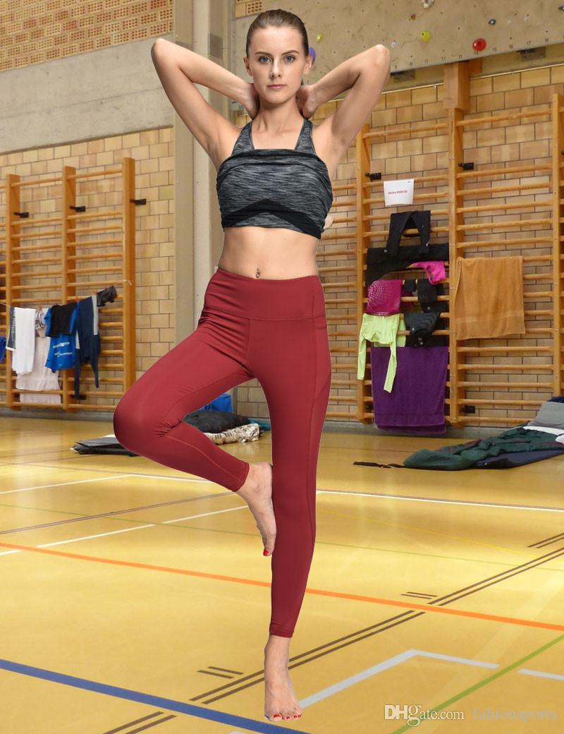 Women Yoga Compression Pants Mesh Leggings Pants Elastic Tights Sexy Yoga Capri with Pocket for Workout Gym Jogging