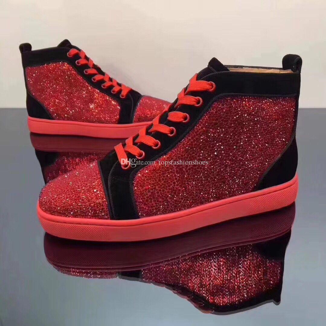 Für Box Patchwork Lace Sneaker High Turnschuhe Frauen Untere Strass Casual Top Rote Mode Herren Wanderschiff Up Mit Männer Freizeit c4ARq3jS5L