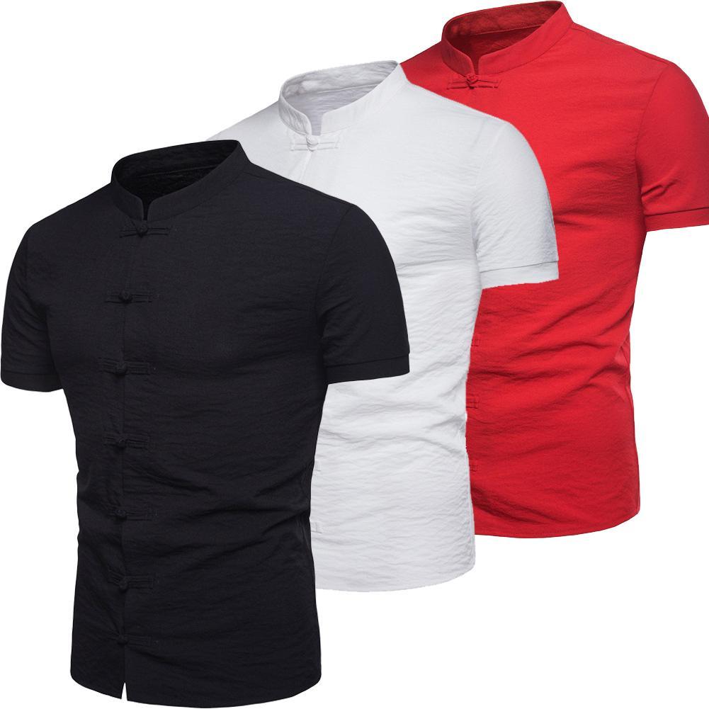 ad3c86de Men's Slim Fit V Neck Short Sleeve Muscle shirt Casual Tops Henley Shirts  Men Shirt Mandarin Collar