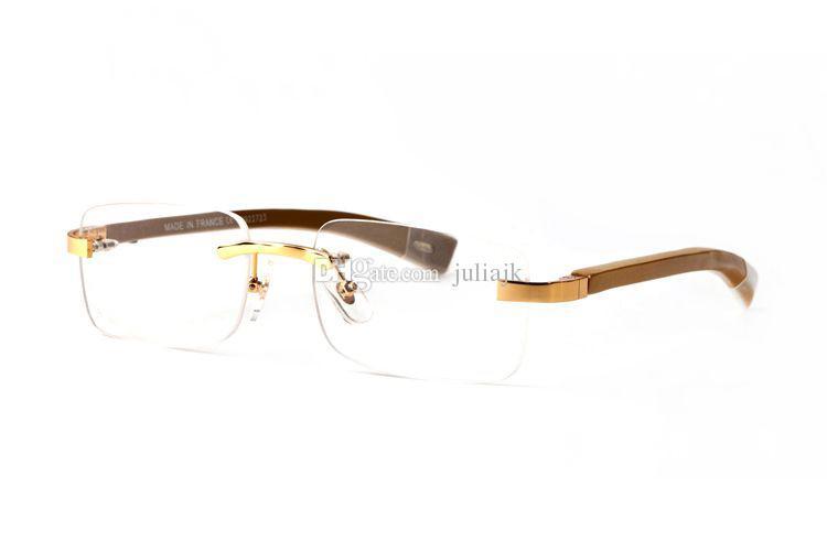 Модный дизайнер деревянные солнцезащитные очки буйвол Рог очки без оправы ясно линзы чтения анти-излучения оптические рамы очки для мужчин очки