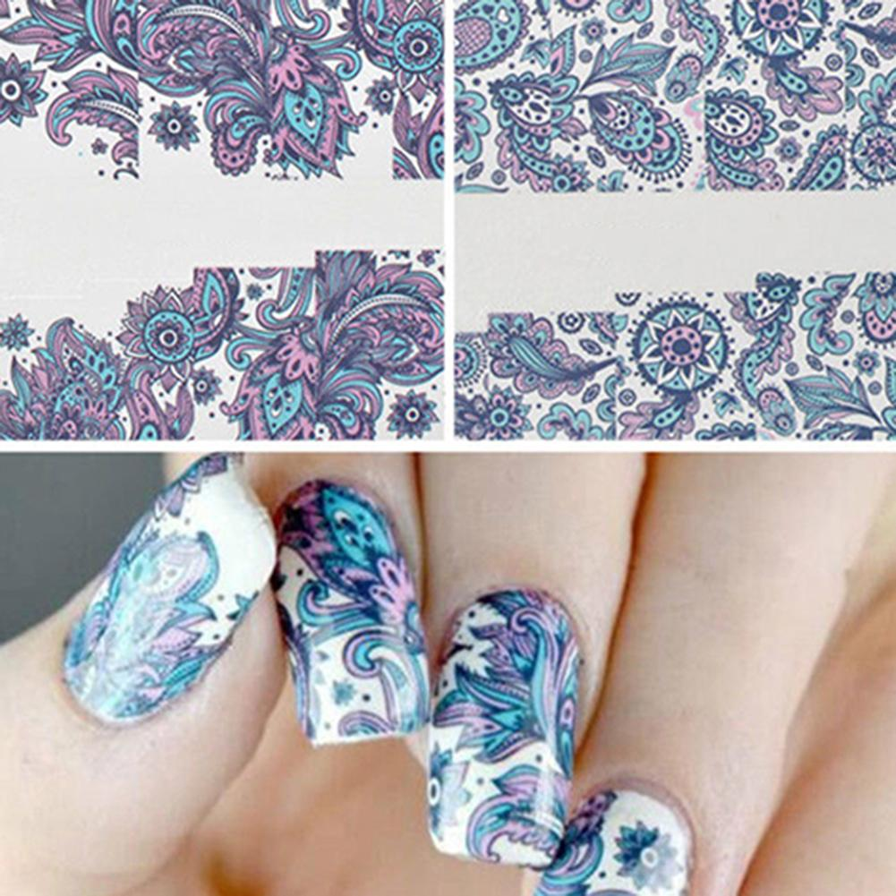 2 Sheets Nail Art Stickers Water Transfer Flower DIY Manicure Decal ...