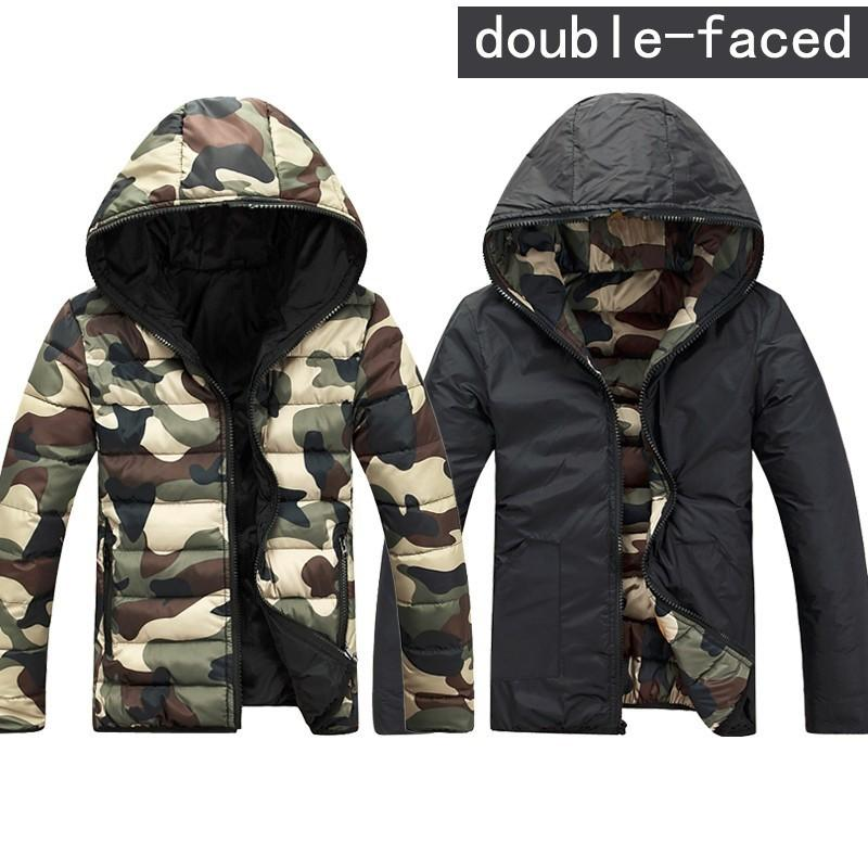 Wholesale-Mens Camouflage Jackets Winter Hoodies reversible Double Sided Clothes Slim Hooded Jackets Coats Army Green/Red/Blue 3XL