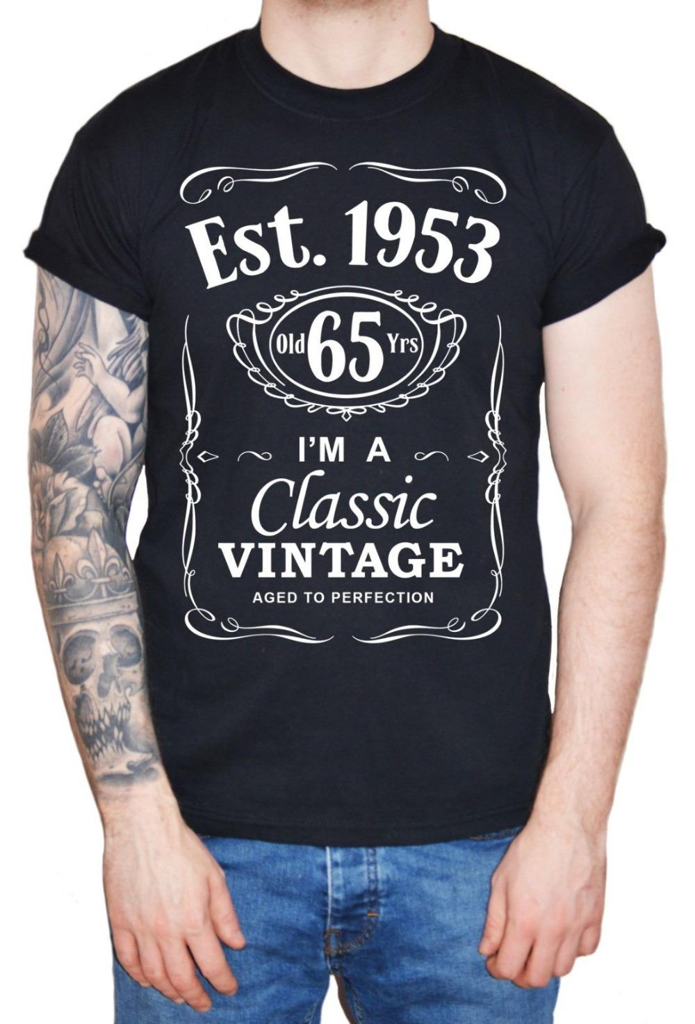 Best Funny T Shirts Comfort Soft Mens 65Th Birthday Shirt Est 1953 Vintage Man Sixty Fifth 65 Years Gift Crew Neck Quality Slogans From