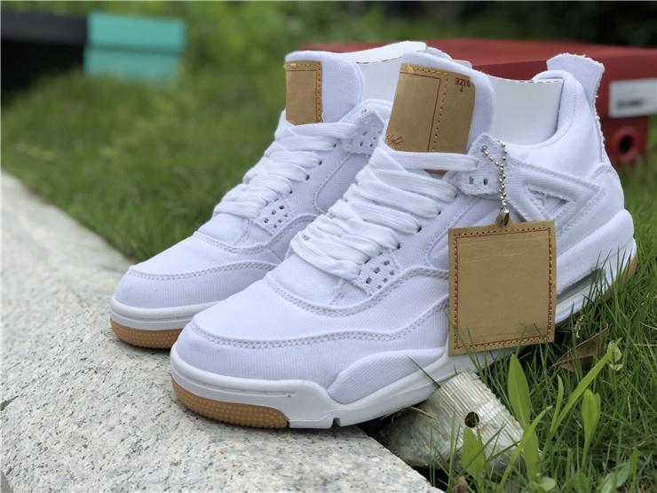 quality design cd6e5 b4a64 Großhandel Original Qualität 4 Weiß Denim LS GS Blau Jean Basketball Schuhe,  Authentische AO2571 100 Schwarz Weiß Sneakers Für Männer Mit Box 2018  Release ...