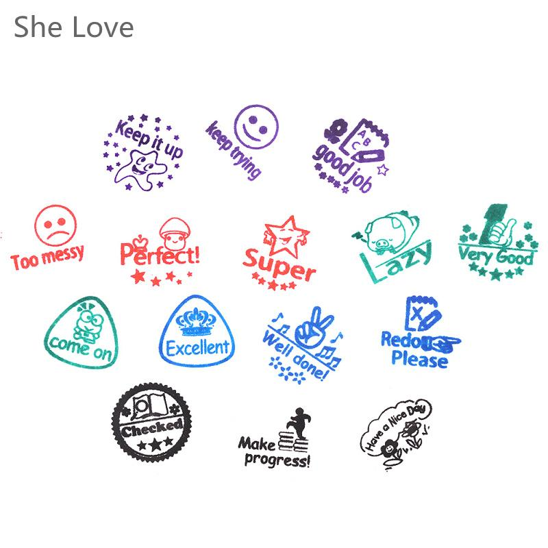 Scrapbooking Stamping Stamps She Love Teacher Self Inking Rubber Stamp Parents Comment Invigorative Words Children Cartoon Gift Customized Wall Decals
