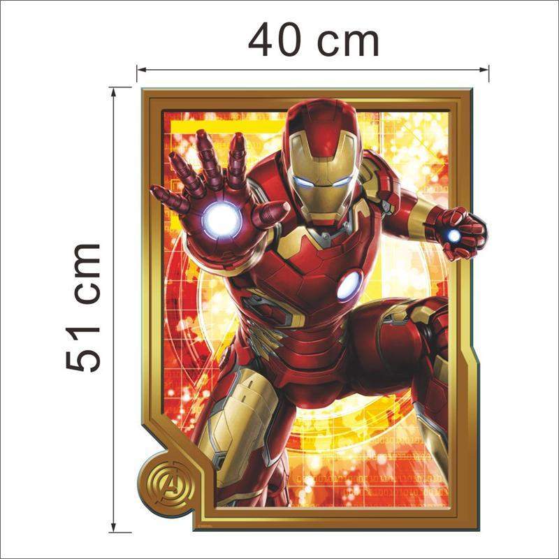 WHOLESALE Iron Man super hero wall stickers kids room decor avengers a003. diy home decals cartoon movie mural art poster 4.0