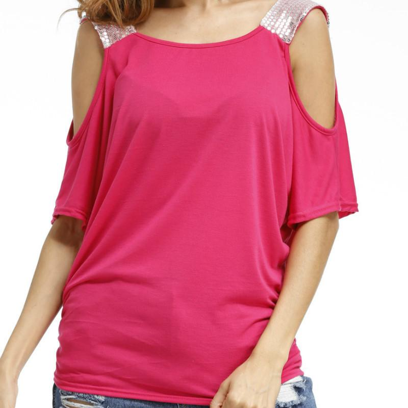 43075dcfe85 S XXL Short Sleeve Casual Shirt 2019 Women Sequined Strap Cold Shoulder  Sexy Female Solid Loose T Shirts O Neck Plus Size GV679 Funny T Shirts For  Sale ...
