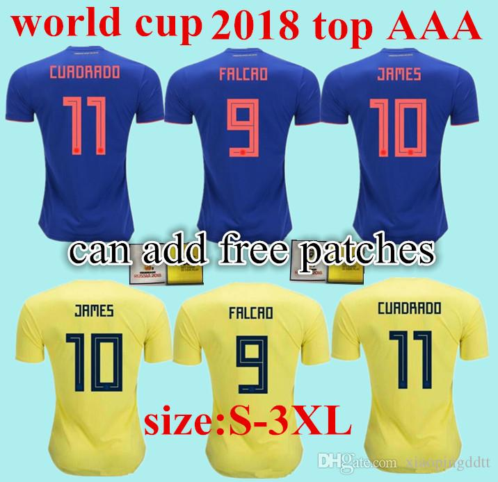 3XL 2018 Colombia Soccer Jerseys Russia World Cup Home Away Jersey 10 JAMES  9 FALCAO 11 CUADRAD 8 AGUILAR 13 GUARIN 6 SANCHEZ Football Shirt UK 2019  From ... f0ed708da