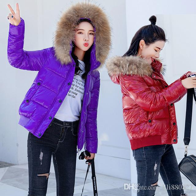 2c3813a1c5c 2019 2018 New Winter Women'S Cotton Down Jackets Hooded Coats Bright Large  Fur Collar Slim Glossy Outerwear Thick Warm Loose Coat From Lili880827, ...