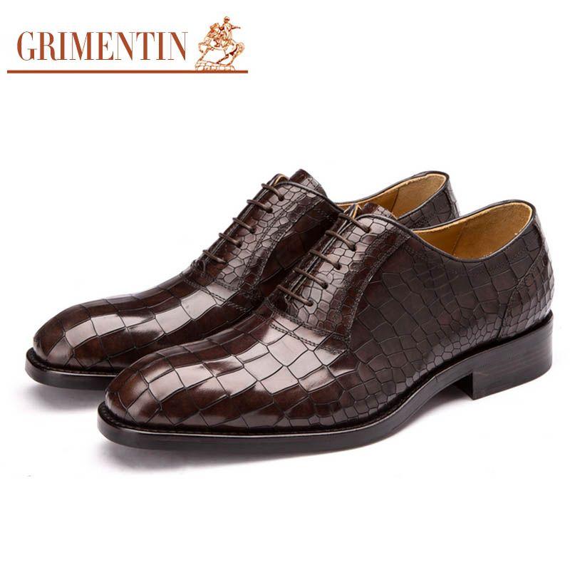 GRIMENTIN Fashion Custom Mens Dress Shoes Handmade Real Leather Sole ... e3f330ed2105