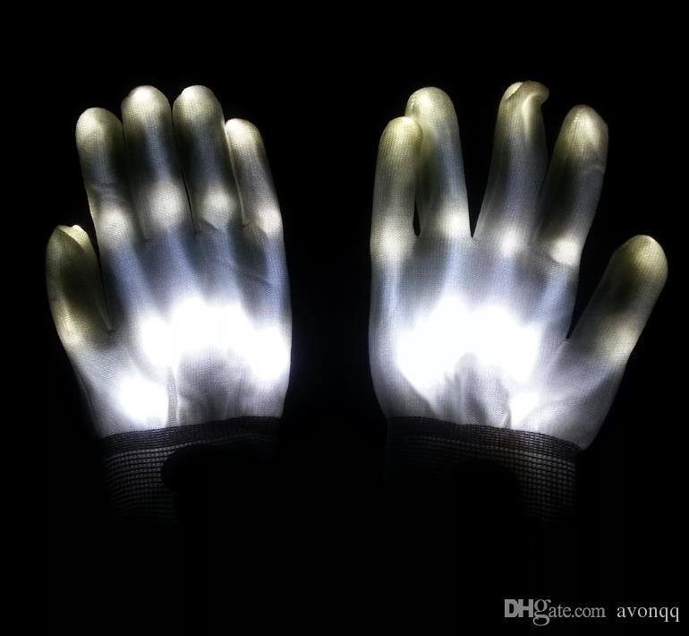 2018 Party LED Gloves Rave Light Flashing Finger Lighting Glow Mittens Magic Black Gloves Party Accessory A690