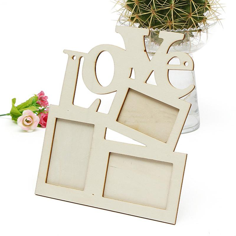 2018 New Lovely Hollow Love Wooden Family Photo Picture Frame Rahmen ...
