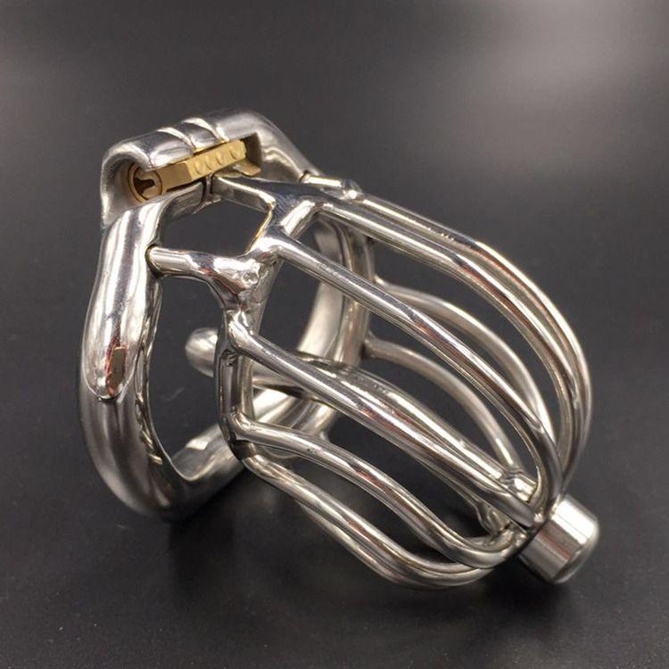 Nuovo arrivo castità gabbia castità cb dispositivi maschio pene bdsm bondage acciaio inox 60mm gabbia di cazzo con catetere